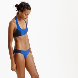 J Crew colorblock zip halter hipster bikini set